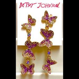 NWT Betsey Johnson Iridescent Butterfly Earrings
